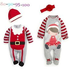 Baby Christmas Cloths Outfits Boy Girl Kids Romper Hat Cap Set Gift for 0-2y