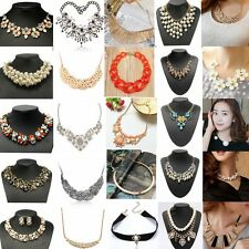 Charm Jewelry Crystal Chunky Pendant Statement Bib Collar Choker Chain Necklaces