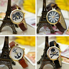 Retro Korean Skull Anchor Gold Dial Quartz Analog Wristwatch New Womens Bracelet
