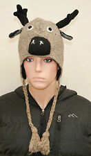 Commercio equo Nepal Lana hand-knitted Earflap MOOSE Renne BERRETTI CAPPELLO animale