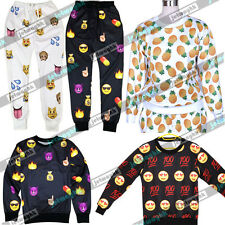 Men Women Black White EMOJI funny 3D Print Sweat jogger Pants Top Sweater Suit
