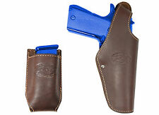 New Barsony Brown Leather Belt OWB Holster + Mag Pouch Taurus Full Size 9mm 40
