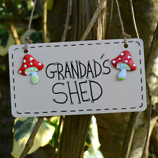 Grandads Shed Toadstool Toad Stool Mushroom Plaque Sign Gardener Grandfather