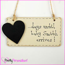 Personalized Birth Countdown Plaque Pregnancy Baby Shower Gift Present Mum To Be