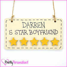Five Stars Wooden Wall Plaque Valentines Anniversary Present Gift Number 1 One