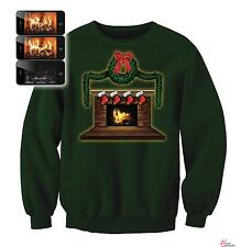 Digital Dudz Crackling Fireplace Ugly Christmas Sweater Green