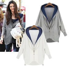 Fashion Women Loose Hoodie Zipper Jacket Long Cardigan Coat Parka Blazer Outwear