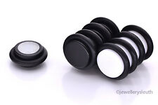 Pair or Single Magnetic Non Piercing Cheater Fake Plug Earring - Black or White