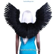 Large Open Swing V shape Costume Feather Angel Wings Black, White or Blue