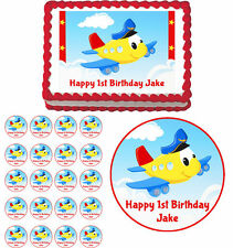 Airplane Adventure Edible Birthday Party Cake Topper Cupcake Image Decoration
