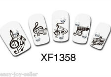 Black Music Note Motif Full Nail Tip Art Water Transfers Decal Sticker XF1358 E#