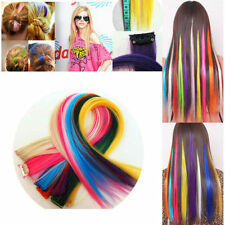 Lady Girl Fancy Long Straight Clips On Hair Extension Cosplay Party Hairpiece GP