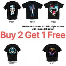 LED Sound Activated EL T shirt/Light Up shirt with mixes a silk screen