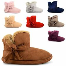 WOMENS LADIES FLAT COMFORT LUXURY SLIPPERS FUR LINED GIRLS HOUSE BOOTIES SIZE