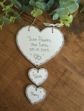 Hanging heart personalised Wedding Engagement Anniversary gift plaque sign