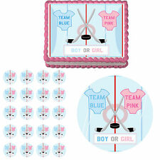 Ice Hockey Gender Reveal Edible Baby Shower Cake Topper Cupcake Party Decoration