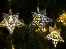 Moroccan Solar String Lantern 12LED Fairy Light Christmas Xmas Star Garden Decor