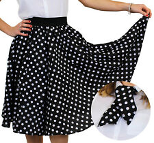 BLACK POLKA DOT SKIRT WITH WHITE SPOTS AND SCARF 1950S ROCK AND ROLL FANCY DRESS