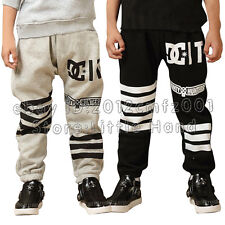 New Kids Boys Striped Pants Causal Harem Trousers Sportwear Bottoms Size1-6Y