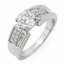 Round and Baguette Shape Antique Style EGL 3.40 Carat Diamond Engagement Ring