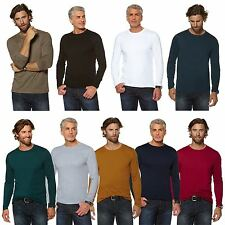 MENS ROUND NECK PLAIN COTTON TOP LONG SLEEVE STRETCHY JERSEY T-SHIRT SIZE S-3XL
