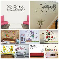 Beautiful Flowers Living Room Background Colourful Waterproof Decal Wall Sticker