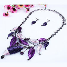 Crystal Vintage Flower Rhinestone Leaves Necklace Choker Bib Statement Chunky