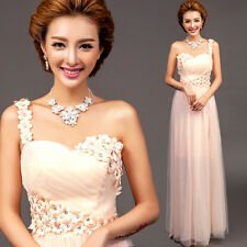 Flower Pink Long Evening Prom Party Pageant Bridesmaid Dress Ballgown Skirt MY49