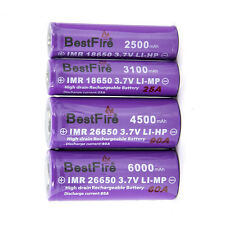 2 Pack Bestfire IMR Purple 3.7V 18650 or 26650 High Drain Rechargeable Battery