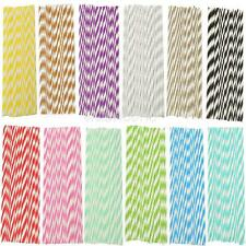 25Pcs Colorful Vintage Striped Paper Drinking Straws for Party Wedding Birthday