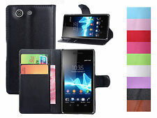 Litchi Luxury PU Leather Wallet-Style Flip Cover For Sony Xperia Z3 Compact Mini