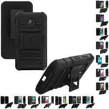 Black Hybrid Armor Heavy Duty Belt Clip Holster Hard Case Cover for Phones