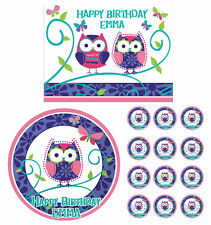 Patchwork Owl Pals Edible Birthday Cake Cupcake Toppers Party Decorations