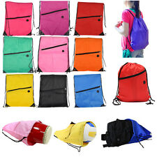 Drawstring Bag Gym Swimming School Sport Shoe Boot Tote Polyester Beach Backpack