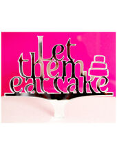 Wedding Cake Topper Mirrored Acrylic Favour LET THEM EAT CAKE Cupcake Tiered