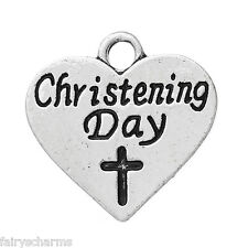 """"""" CHRISTENING DAY """" Heart Message Word Charms 18x17mm 5 or 10  New Baby Theme"""