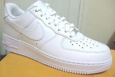 MENS ALL WHITE LEATHER NIKE AIR FORCE 1 LOW  '07 TRAINERS UK SIZE 6 - 12