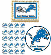 Detroit Lions Edible Birthday Cake Cupcake Toppers Party Decorations Images