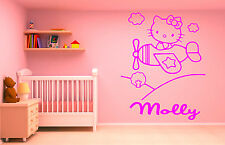 Hello Kitty Plane personalised vinyl childrens bedroom wall art decal sticker!!!