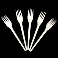 White Plastic Disposable Strong Forks Cutlery Party Wedding Birthday Catering