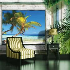 PHOTO MURAL WALLPAPER WALLCOVERING NEW HOME DECOR WINDOW BEACH PALMS VIEW 1226VE