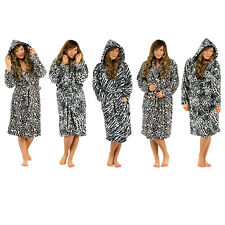 Womens Ladies Supersoft Cosy Animal Print Zebra Leopard Dressing Gown Robe