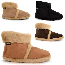 NEW MENS COOLERS FLUFFY MICROSUEDE SNUGG FLAT ANKLE SLIPPER BOOTS SIZES UK 7-12