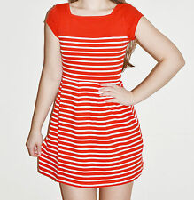 FRENCH CONNECTION Red Stripe County Cotton Size Dress 4 6 8 10 12 RRP£63