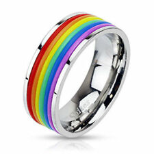 Gay Pride Rainbow Rubber Striped Band Ring Stainless Steel