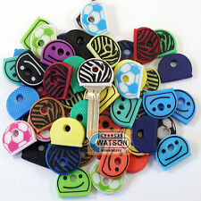 Various KEY CAPS Assorted Colours Top Head Covers ID Tag Ring Keyring Tab