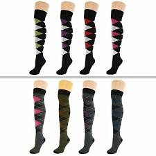 4 Pairs Womens Ladies Girls Over Knee Thigh High Argyle Diamond Socks New