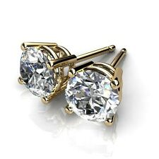 Mens 18k Yellow Gold Plated 3mm - 5mm Round Cut Cubic Zirconia Studs
