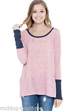 A two toned cut & sew sweater top featuring rib contrast Sweater Tunic Top Pink