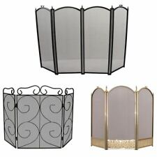 Fire Screen Black Brass Folding Panel Guard Sparkguard Cover By Home Discount